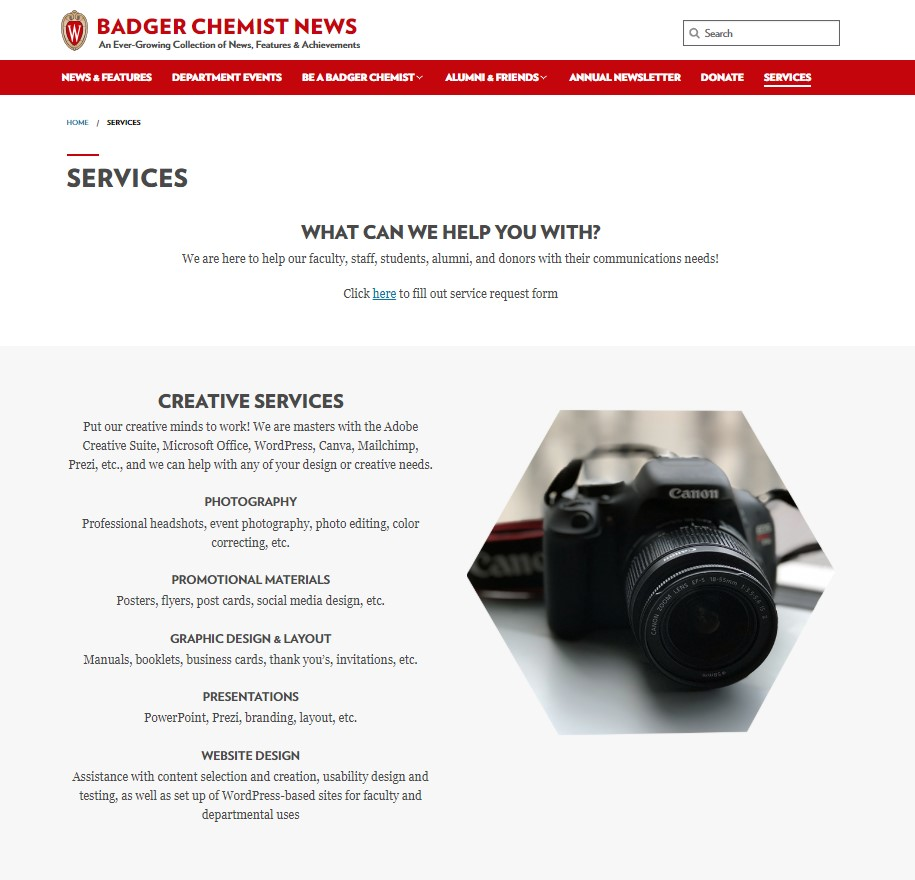 services page screenshot