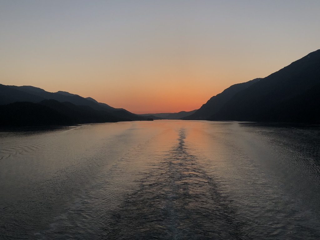 Sunset over the mountains in Alaska